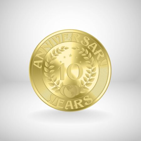 10 years anniversary gold coin Vector