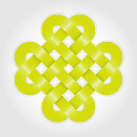 Green eternal knot concept in editable format Vector