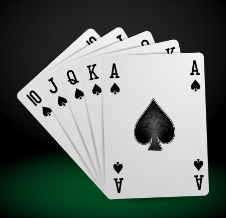 royal flush: royal flush playing cards Illustration