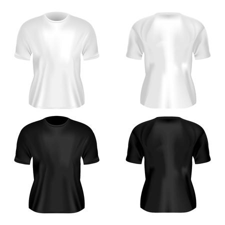 undershirt: Empty white and black shirt design  Realistic vector illustration  Illustration
