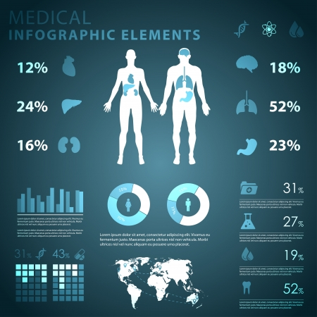 anatomy body: medical infographic elements