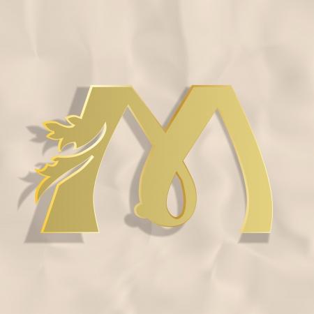 old victorian letter: Vintage initials letter m