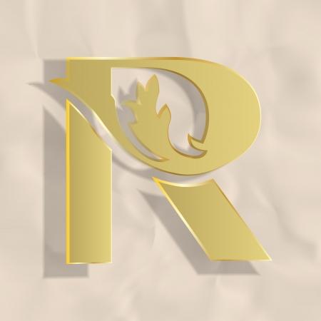 r: Vintage initials letter r