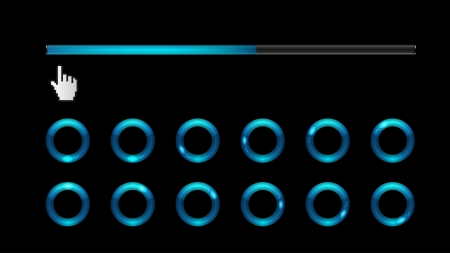 Blue loading bar and spinner  Vector