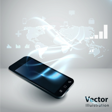 mobile sms: Modern communication technology illustration with mobile phone and high tech background