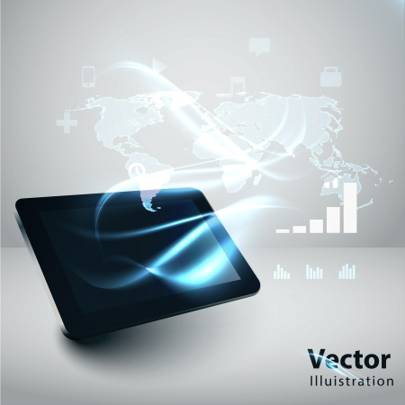 Modern communication technology illustration with tablrt pc and high tech background  Vector