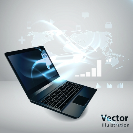 Modern communication technology illustration with laptop and high tech background