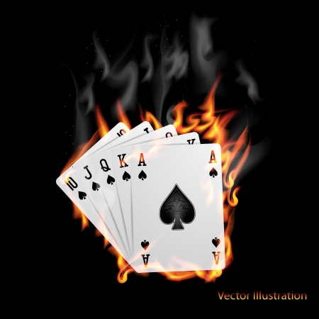 ace of clubs: Poker cards burn in the fire
