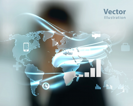 global navigation system: business woman and high tech type of modern buttons on a virtual background  Illustration