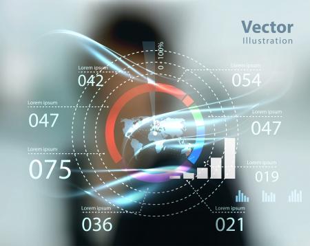 Mujer de negocios y el tipo de alta tecnología de botones modernos en un fondo virtual de Ilustración de vector
