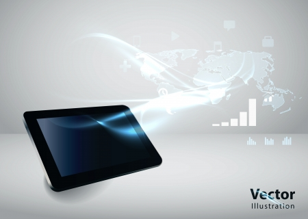 Modern communication technology illustration with tablet and high tech background