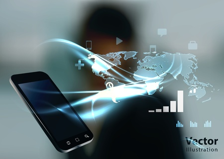 high tech: Modern communication technology illustration with mobile phone and high tech business background