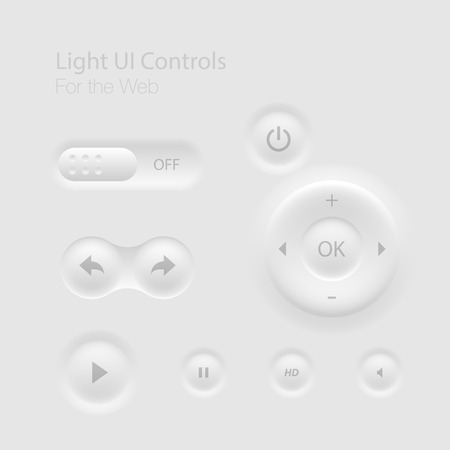 video player: Light UI Controls Web Elements: Buttons, Switchers,