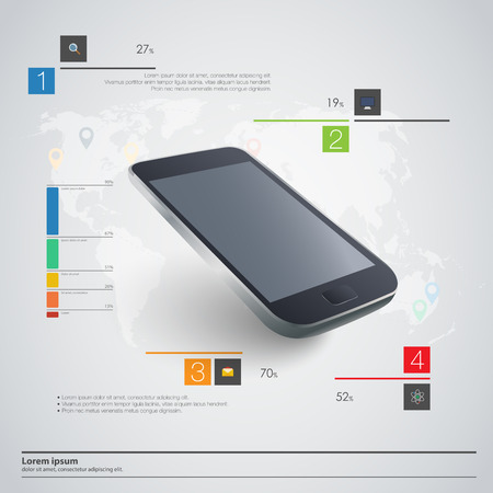 connect people: Modern communication technology illustration with mobile phone and high tech background Illustration