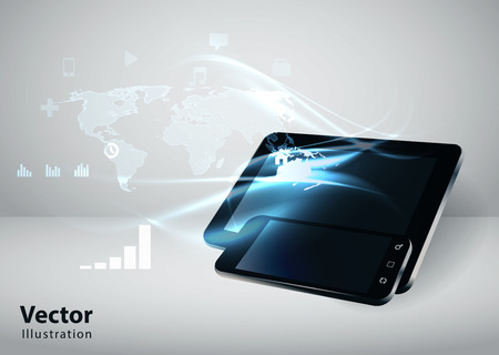 Modern communication technology illustration with mobile phone, tablet and high tech background Иллюстрация