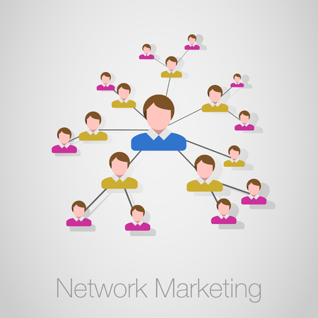 mlm: Business Network Concept Present By Multilevel Businessman Connection