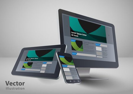 design web: Responsive web design in electronic devices  Illustration