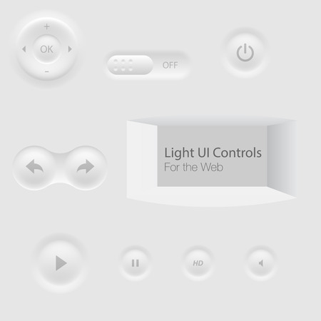 on off button: Light UI Controls Web Elements: Buttons, Switchers Illustration
