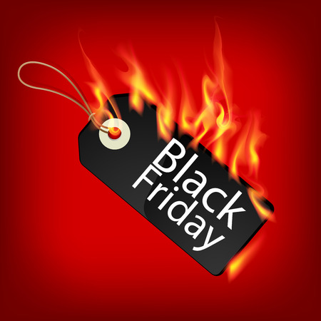 Fiery black friday sale design with Price Tag Vector