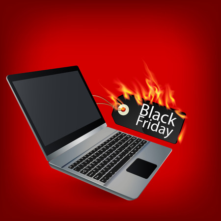 Fiery black friday sale design with Laptop