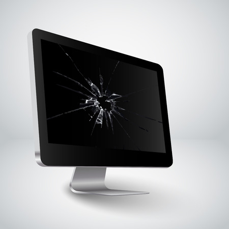 Broken screen of a computer Vector