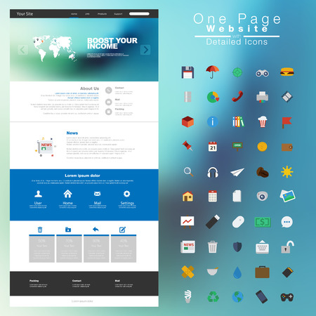 One page website design template. All in one set for website design