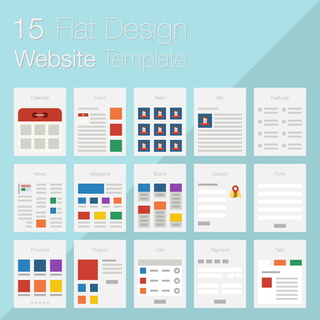 Vector collection of flat website templates on blue background. Иллюстрация