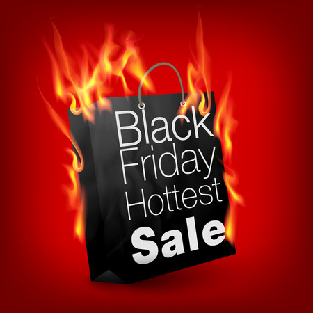 Fiery black friday sale design with shopping bag Иллюстрация