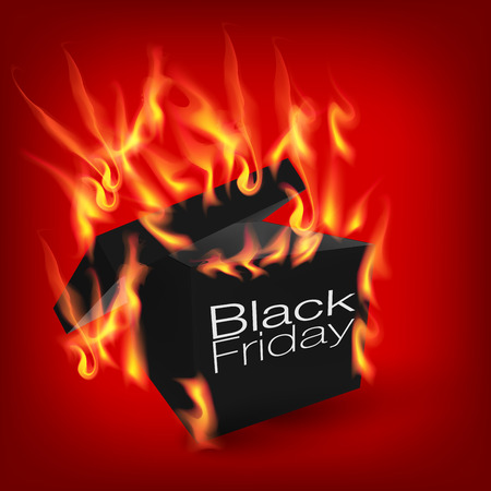 Fiery black friday sale design with box Vector