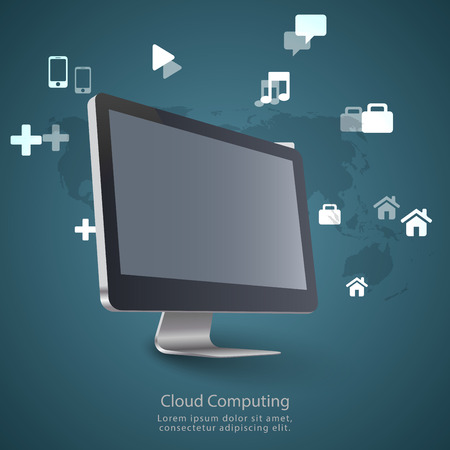 Modern communication technology illustration with pc monitor and high tech background