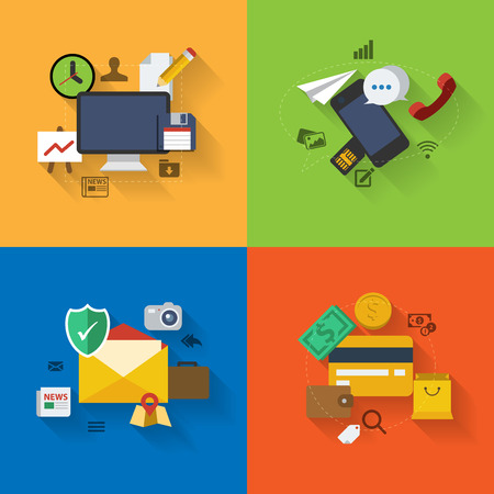 Set of flat design concept icons for web and mobile phone services and apps. Иллюстрация