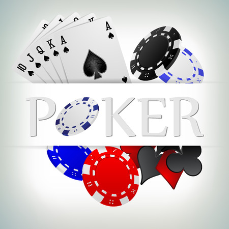 vector illustration poker gambling chips poster . poker collection with chips, cards