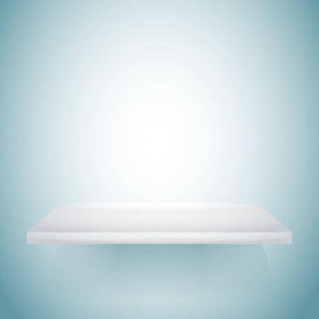 empty shelf: Empty white shelf hanging on a wall. Illustration
