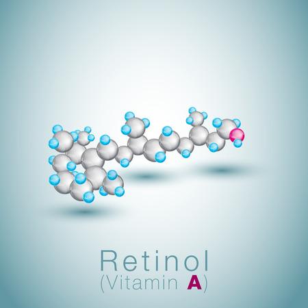 Ball model of retinol (vitamin A) Vector