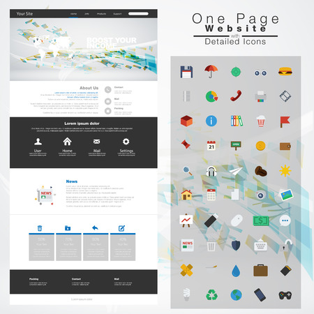 One page website design template. All in one set for website design Vector