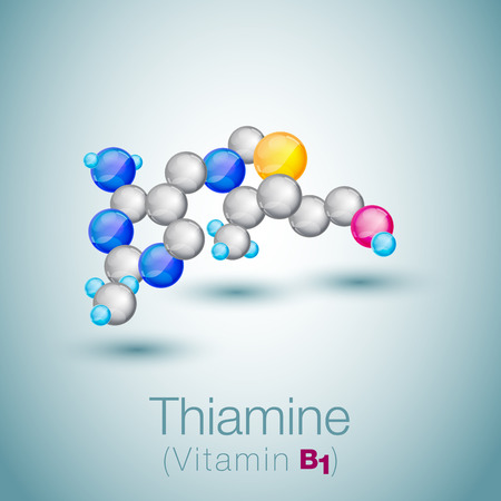 vitamine: Thiamine or thiamin or vitamin B1 Illustration