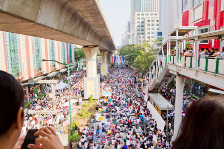 undemocratic: against the government at sukhumvit road on Febuary 2, 2014 in Bangkok, Thailand