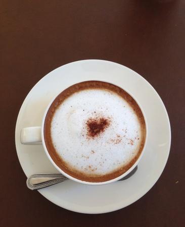 cappuchino: Top view of hot coffee.
