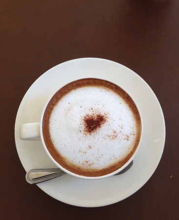 Top view of hot coffee.