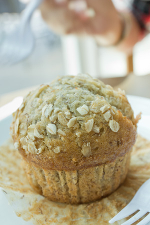 Delicious banana muffin photo