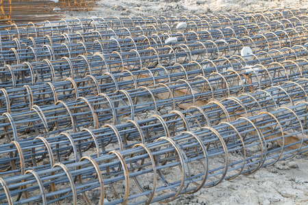 reinforcing bar: Rebars component for bore pile structure Stock Photo