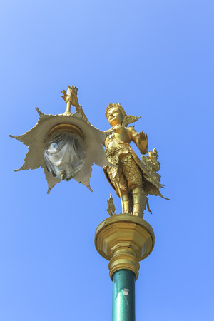 Tilt angle of Street lighting in Thai ancient art style by Mythical female bird with a human head Archivio Fotografico