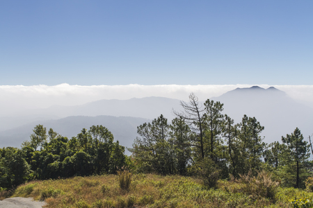 Peaks were shrouded in a sea of mist at northern Thailand's Chiang Mai province