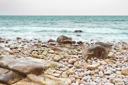 Stone Pebbles beach of southern Thailand Archivio Fotografico