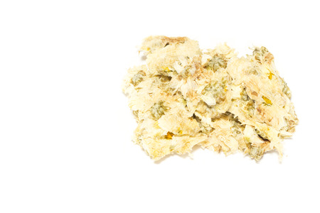 Closeup dried chrysanthemum on white background, ingredient for making a hot beverage Archivio Fotografico