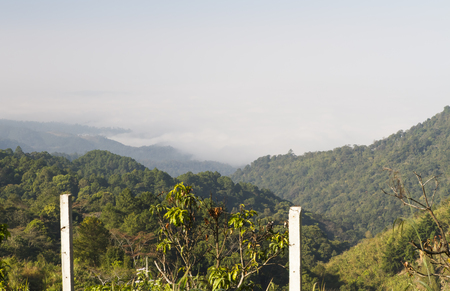 Rainforest mist covered of northern Thailand's Chiang Mai province
