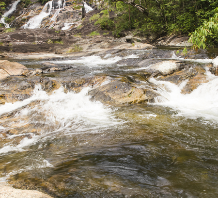 Water flowing from waterfall in Songkhla province of Thailand