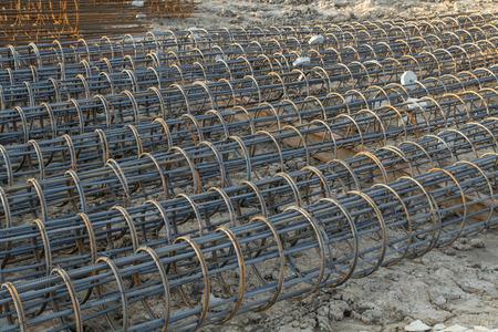 Closeup deformed bar component for construction concrete pile