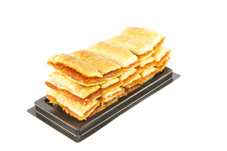 Closeup stack of pineapple pie on white background