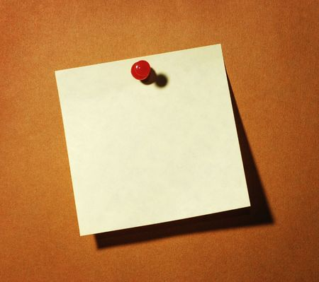 Thumbtack and Note on Brown Background Stock Photo - 4816307